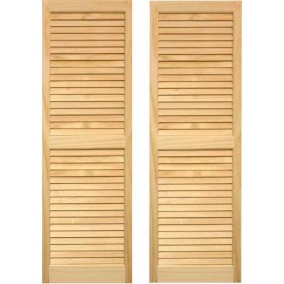 15 in  x 63 in  Cedar Exterior Louvered Shutters